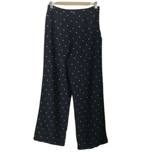VINTAGE Navy Polka Dot Silk High-Rise Pants